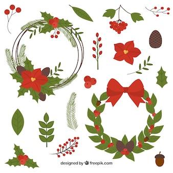 Conjunto de elementos naturais da decoração de natal