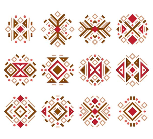 Conjunto de elementos navajo de padrões navajo mexicano asteca da moda
