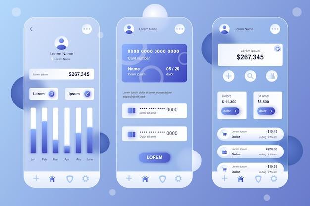 Conjunto de elementos neumórficos de design glassmorphic de banco on-line para aplicativos móveis ui ux gui screens set