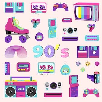 Conjunto de elementos no estilo dos anos 90. ilustração vetorial.