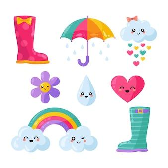 Conjunto de elementos orgânicos de decoração chuva de amor plana