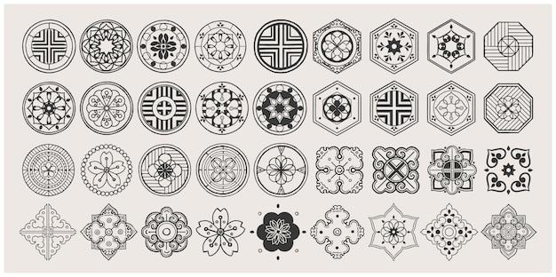 Conjunto de elementos orientais desenhados à mão. mandala negra. design tradicional asiático.