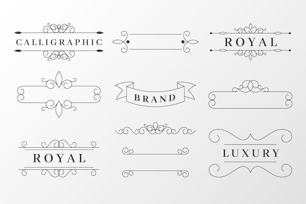Conjunto de elementos ornamentais caligráficos