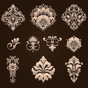 Conjunto de elementos ornamentais damasco