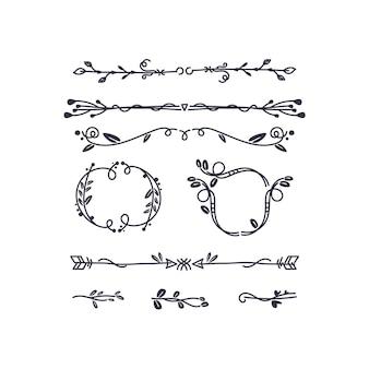 Conjunto de elementos ornamentais desenhados à mão