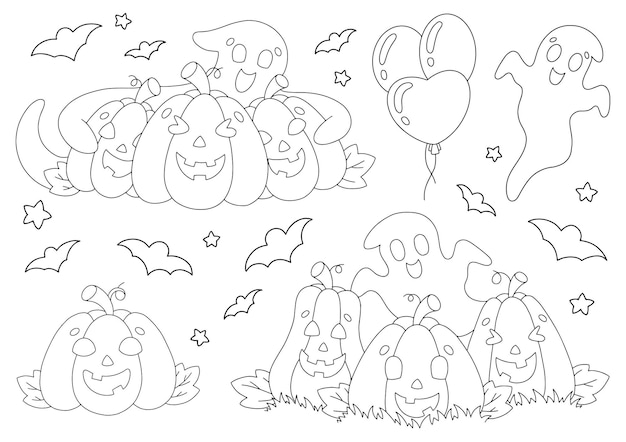Conjunto de elementos para abóboras de halloween, fantasmas, morcegos, página de livro para colorir para crianças