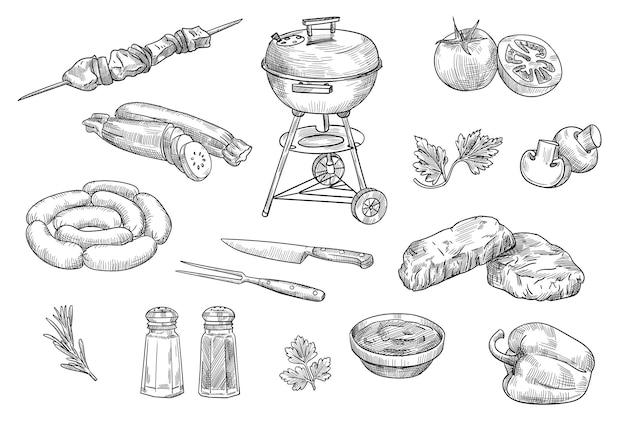 Conjunto de elementos para churrasco isolados com ilustrações desenhadas à mão