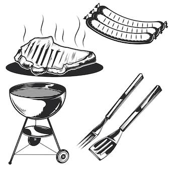Conjunto de elementos para churrasco