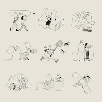 Conjunto de elementos para doenças comuns em casa doodle de saúde
