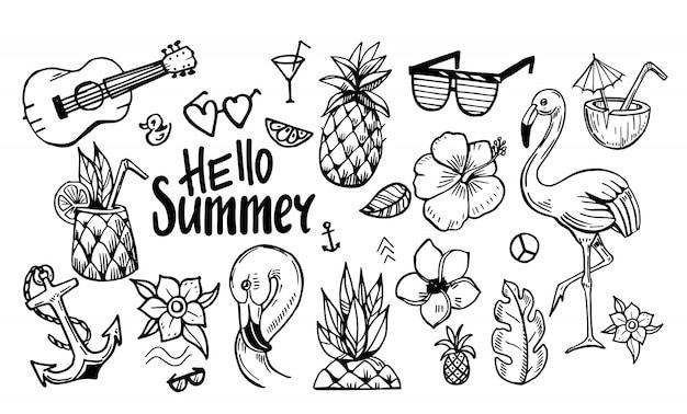 Conjunto de elementos para férias de verão