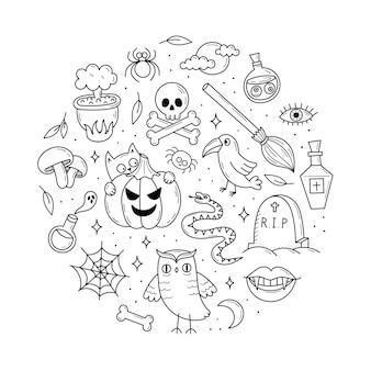 Conjunto de elementos para halloween gatos abóboras fantasmas poção doodle estilo ilustração
