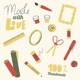 Conjunto de elementos para hobby artesanal