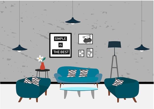 Conjunto de elementos para minimalista moderna sala de estar