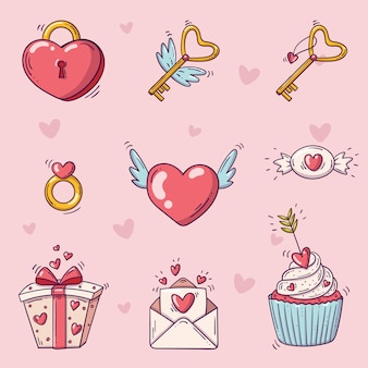 Conjunto de elementos para o dia de são valentim em estilo doodle em fundo rosa com corações