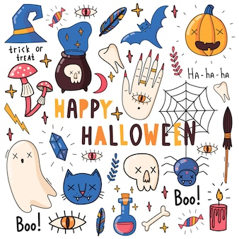 Conjunto de elementos para o halloween. abóbora, veneno, vassoura de bruxa, doce, boo, gato, fantasma, morcego, cristal, cogumelos, crânio. ilustrações planas.