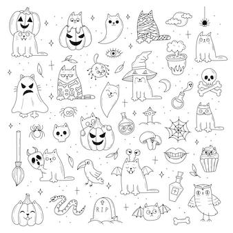 Conjunto de elementos para o halloween. objetos assustadores místicos. gatos, abóboras, fantasmas, poções. ilustração do estilo doodle