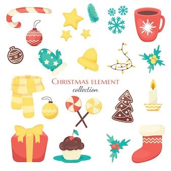 Conjunto de elementos para o natal