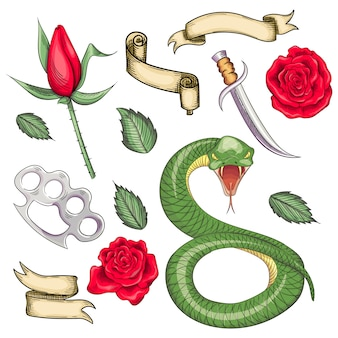 Conjunto de elementos para tatuagens no estilo da velha escola