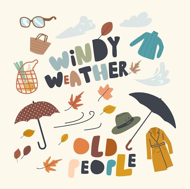 Conjunto de elementos pessoas idosas no tema de clima ventoso.