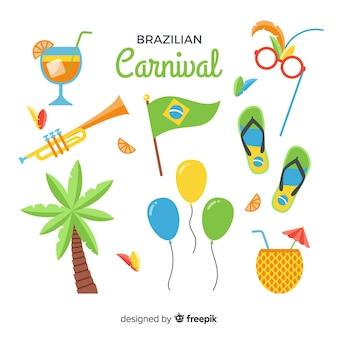 Conjunto de elementos plana carnaval brasileiro
