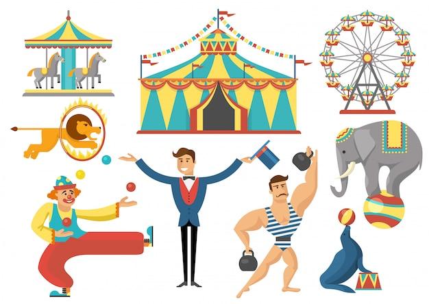 Conjunto de elementos plana de circo