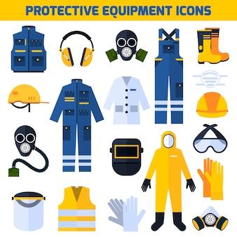 Conjunto de elementos plana de equipamento de uniformes de proteção