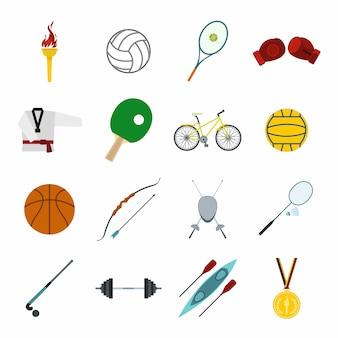 Conjunto de elementos plana de esporte de verão isolado