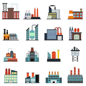 Conjunto de elementos plana de fábrica de edifício industrial isolado