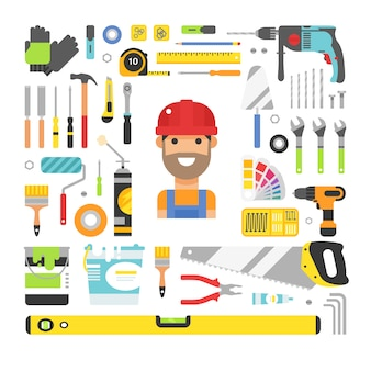 Conjunto de elementos plana de ferramentas de equipamento de construção