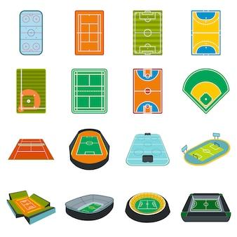 Conjunto de elementos plana do estádio isolado