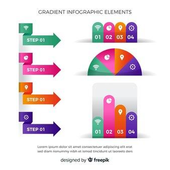 Conjunto de elementos plana infográfico