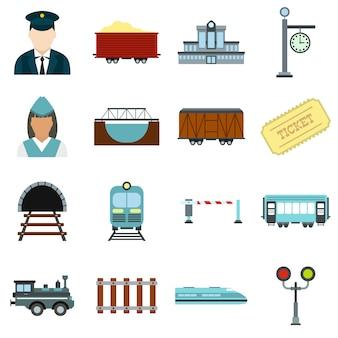 Conjunto de elementos planos de ferrovia isolado