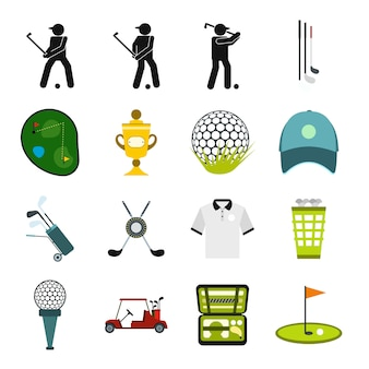 Conjunto de elementos planos de golfe para web e dispositivos móveis