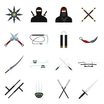Conjunto de elementos planos de ninja para web e dispositivos móveis