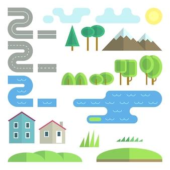 Conjunto de elementos planos de paisagem