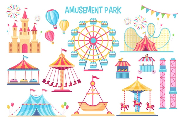 Conjunto de elementos planos de parque de diversões colorido.