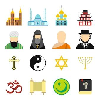 Conjunto de elementos planos de religião