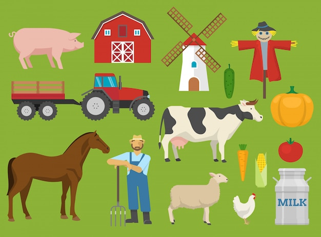 Conjunto de elementos planos decorativos de fazenda