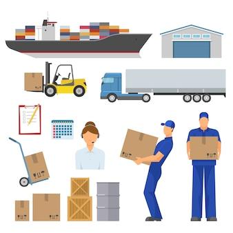 Conjunto de elementos planos decorativos de logística