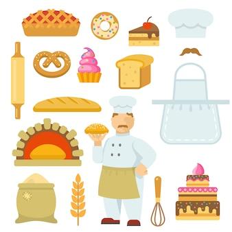 Conjunto de elementos planos decorativos de padaria