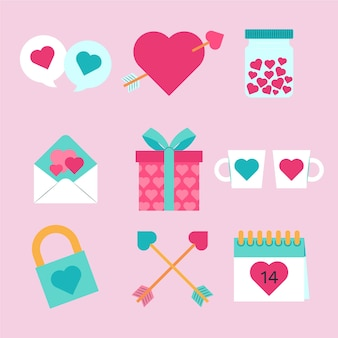 Conjunto de elementos planos do dia dos namorados