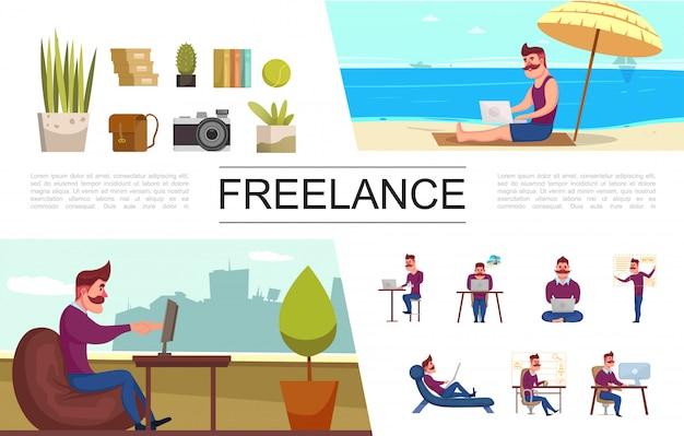 Conjunto de elementos planos freelance com freelancer trabalhando no escritório e em livros de bolsa de câmera de plantas de praia tropical
