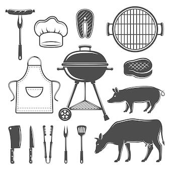 Conjunto de elementos planos gráficos decorativos para churrasco