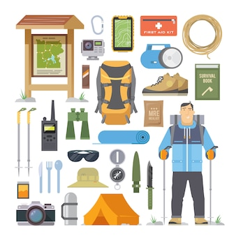 Conjunto de elementos planos sobre o tema da escalada, trekking, caminhadas, caminhadas. esportes, recreação ao ar livre, aventuras na natureza, férias. design moderno e plano.