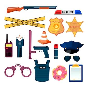 Conjunto de elementos policial planos