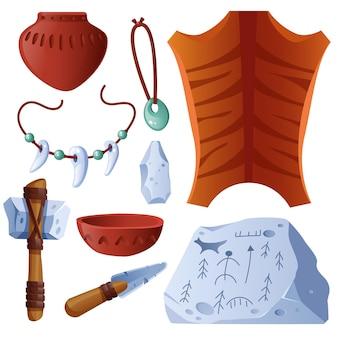 Conjunto de elementos pré-históricos