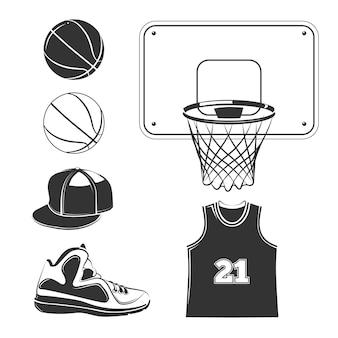 Conjunto de elementos pretos do clube de basquete