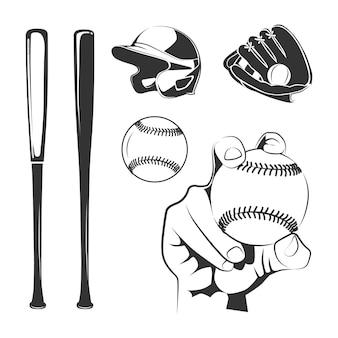 Conjunto de elementos pretos do clube de beisebol