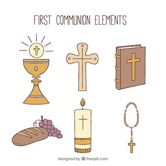Conjunto de elementos religiosos desenhados à mão