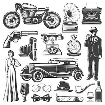Conjunto de elementos retrô vintage com cavalheiro mulher pistola câmera automóvel motocicleta gramofone máquina de escrever relógios telefone microfone chapéu cigaro uísque isolado